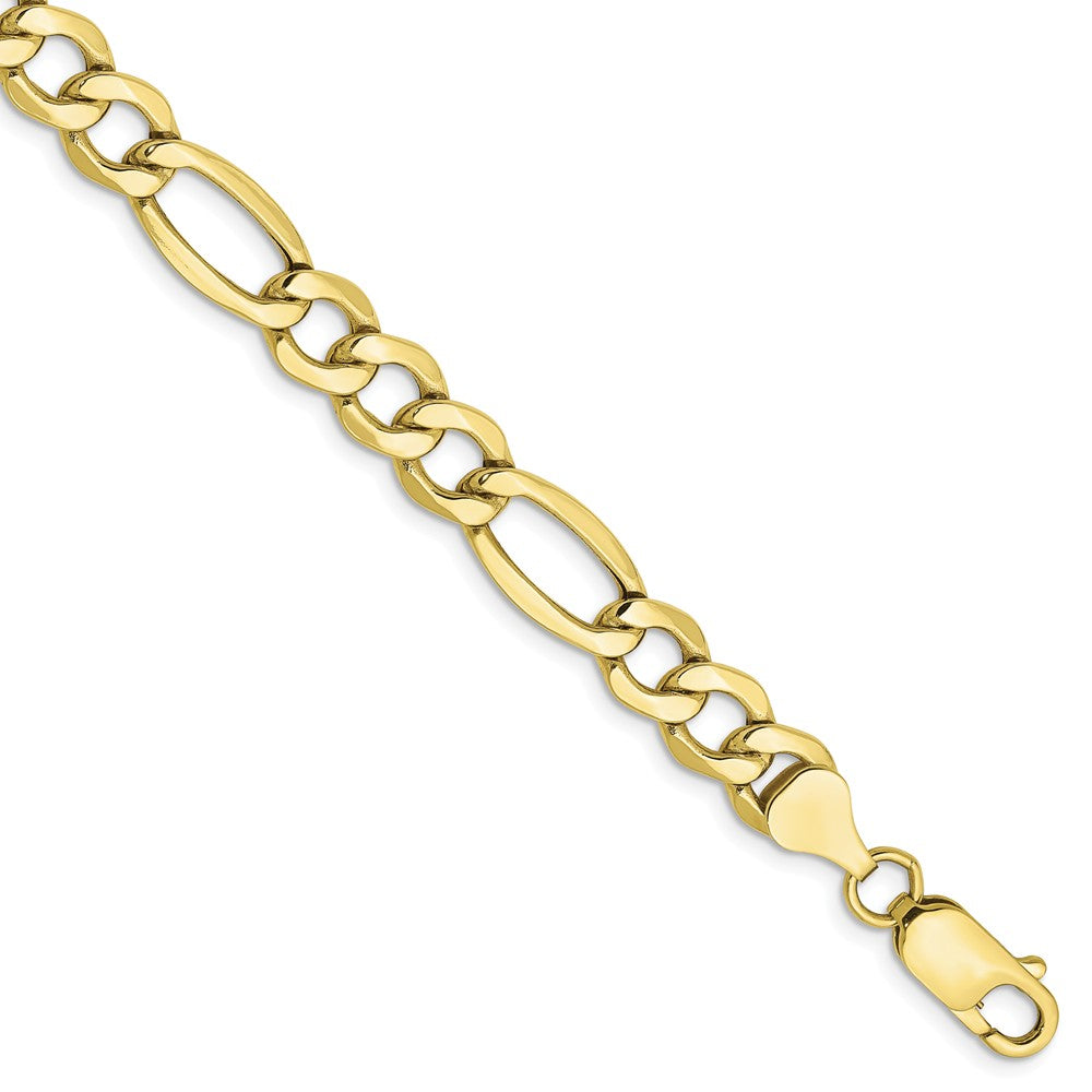 Men's 7.3mm, 10k Yellow Gold Hollow Figaro Chain Bracelet