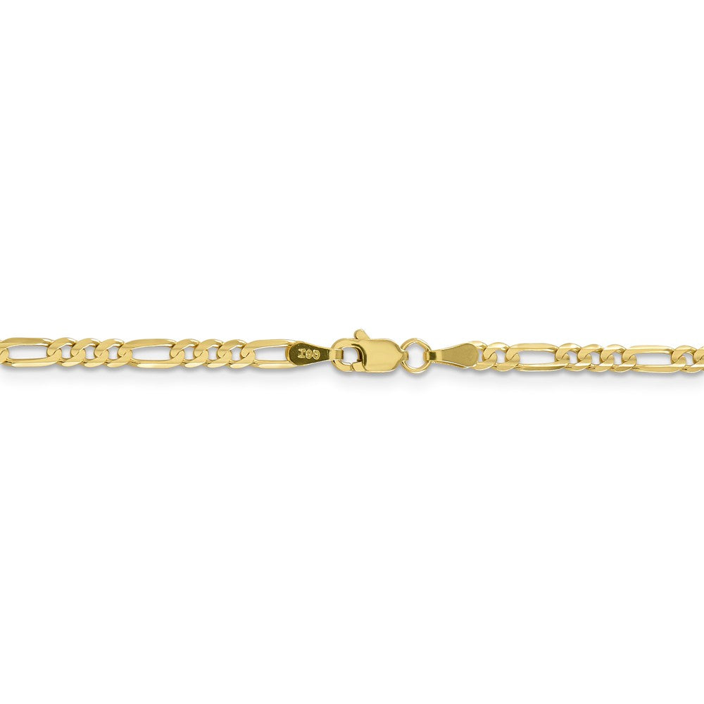 Alternate view of the 3mm, 10k Yellow Gold, Concave Figaro Chain Necklace by The Black Bow Jewelry Co.