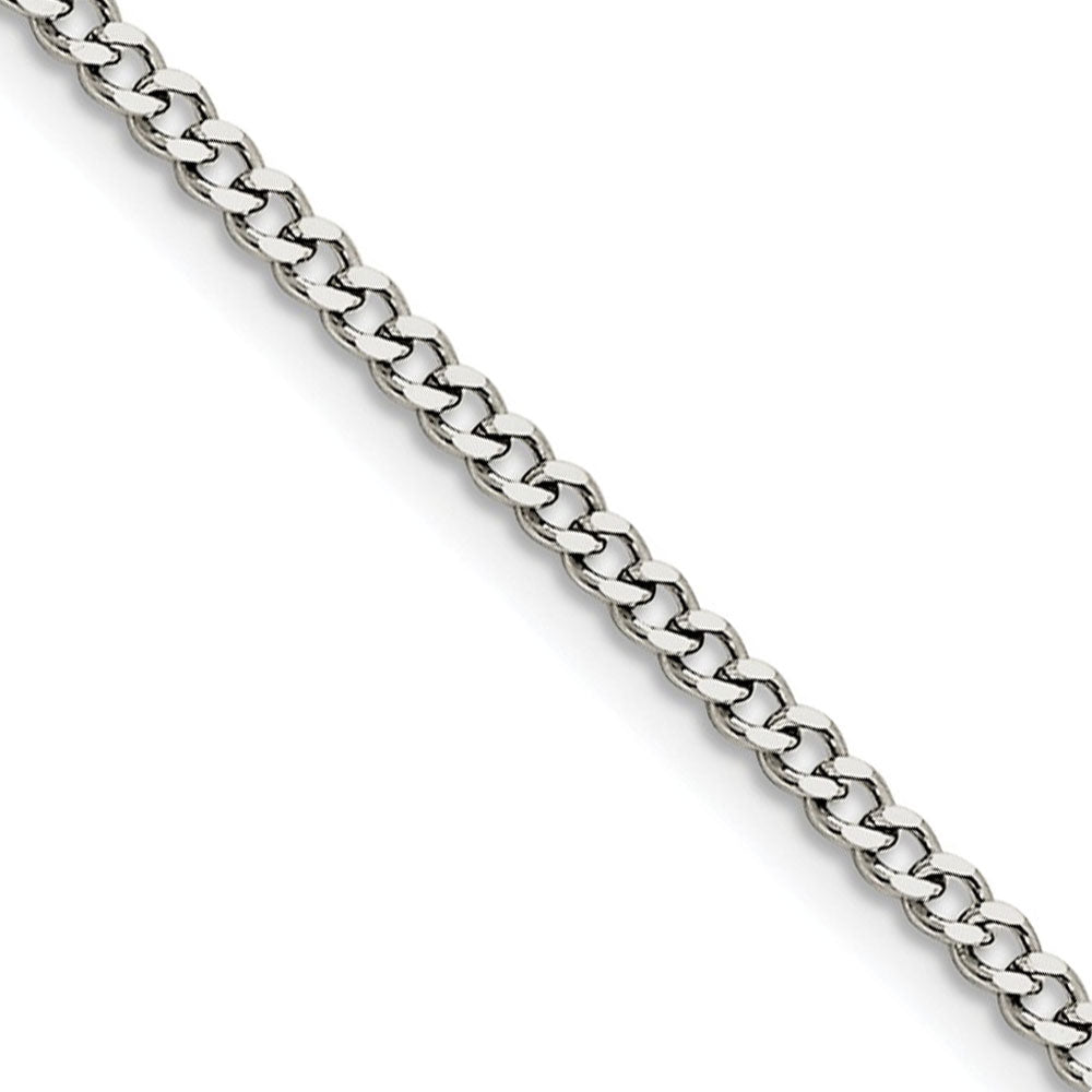 3mm Stainless Steel Flat Curb Chain Necklace - The Black Bow Jewelry Co.