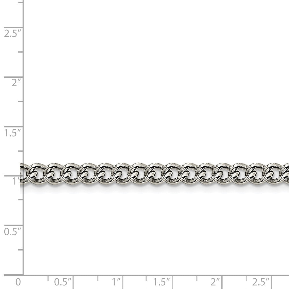 Alternate view of the Men's 5.3mm Stainless Steel Round Curb Chain Necklace by The Black Bow Jewelry Co.