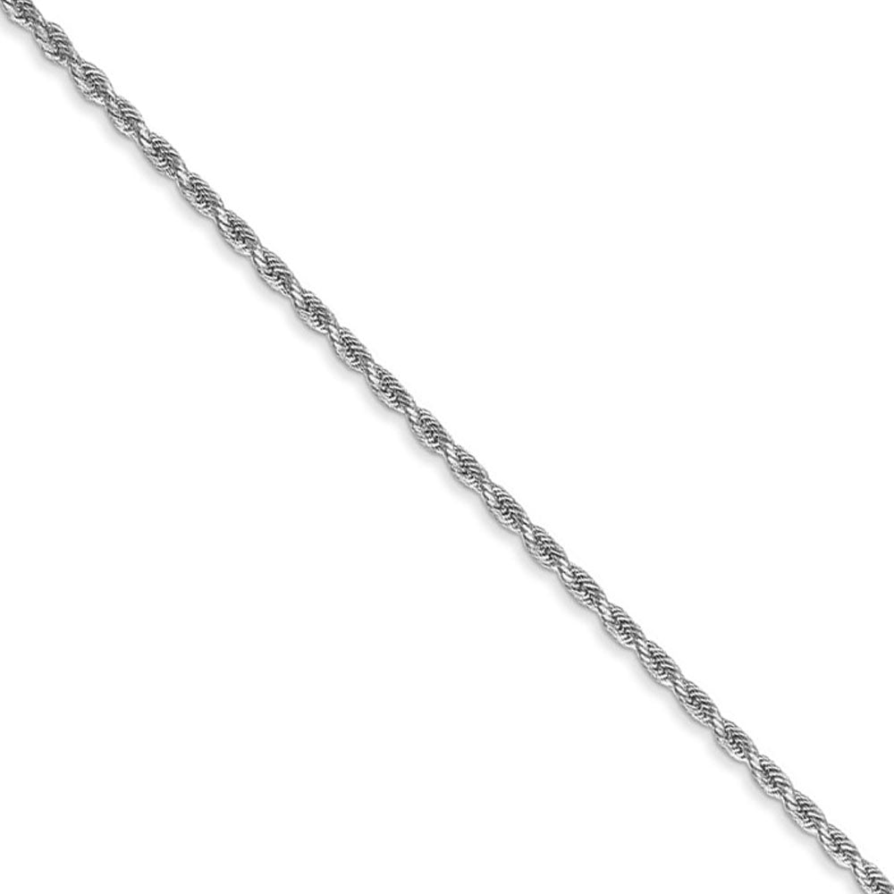 1.5mm 14k White Gold Solid Diamond Cut Rope Chain Necklace - The Black Bow Jewelry Co.