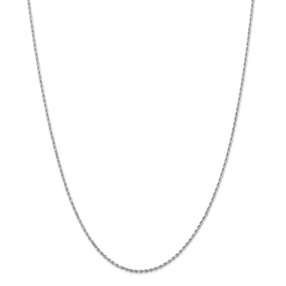 1.5mm 14k White Gold Solid Diamond Cut Rope Chain Necklace