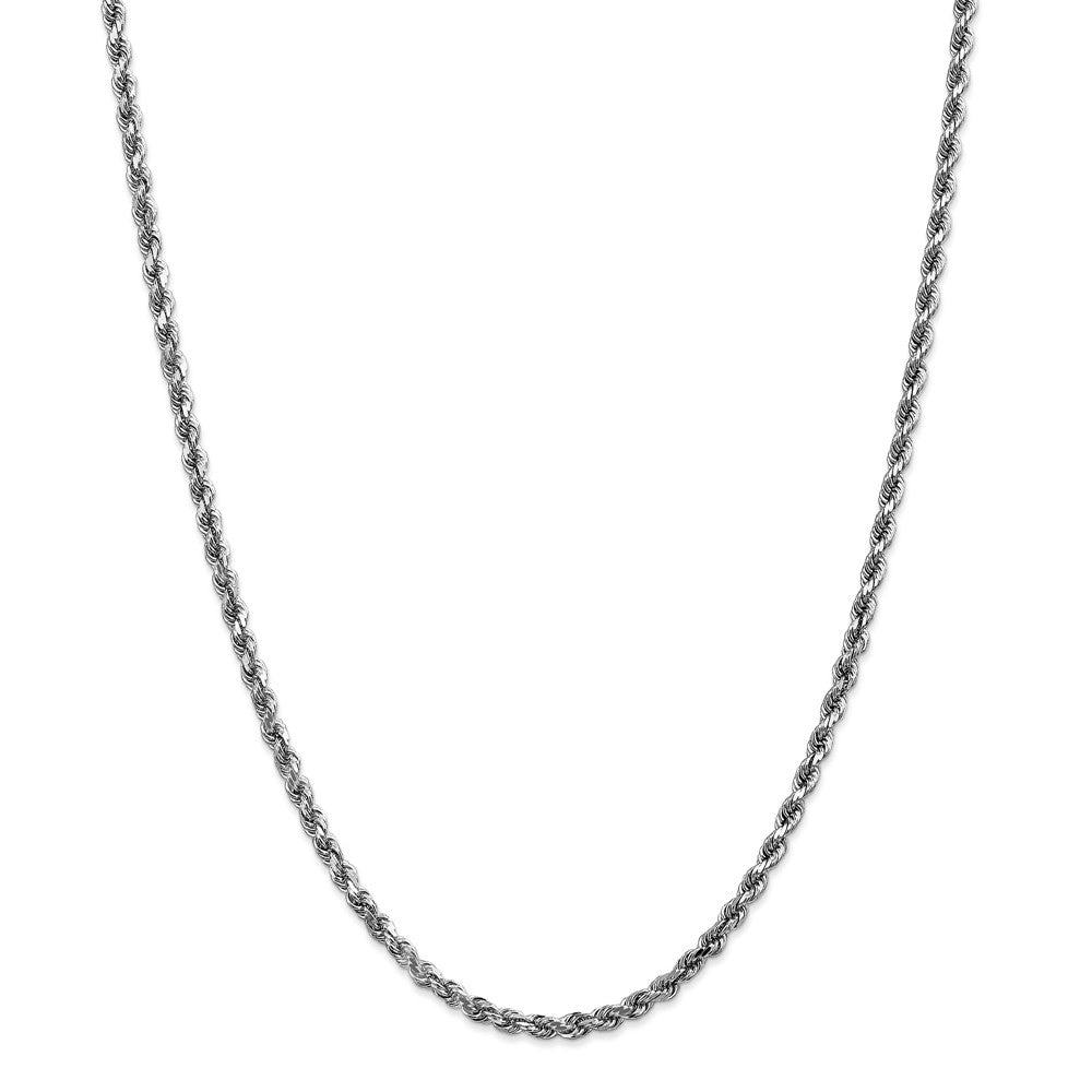 Alternate view of the 4mm 14k White Gold Solid Diamond Cut Rope Chain Necklace by The Black Bow Jewelry Co.