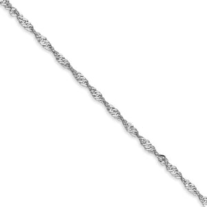1.6mm 14k White Gold Diamond Cut Singapore Chain Bracelet & Anklet - The Black Bow Jewelry Co.