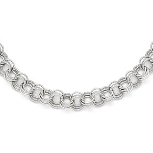 14k White Gold Italian 12mm Polished Triple Link Necklace, 18 Inch - The Black Bow Jewelry Co.