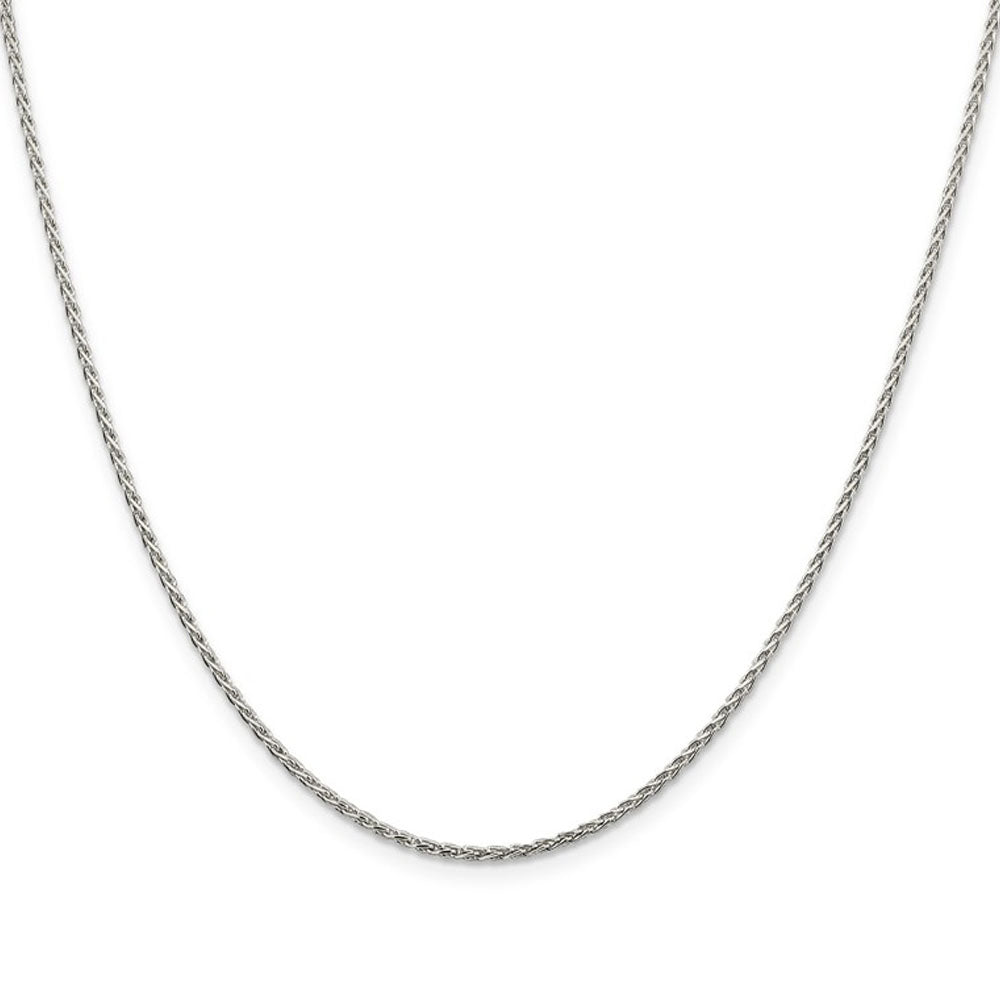 Alternate view of the 1.5mm Rhodium Plated Sterling Silver Spiga Chain Necklace, 18-20 Inch by The Black Bow Jewelry Co.