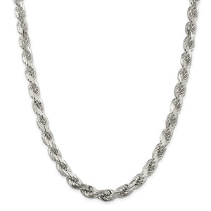 Alternate view of the Men's 8mm Sterling Silver D/C 8 Sided Solid Rope Chain Necklace by The Black Bow Jewelry Co.