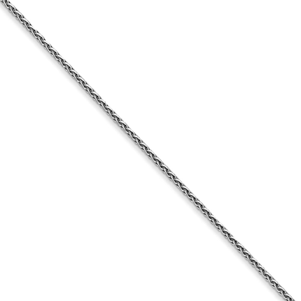 1mm 14k White Gold Diamond Cut Round Wheat Chain Necklace - The Black Bow Jewelry Co.