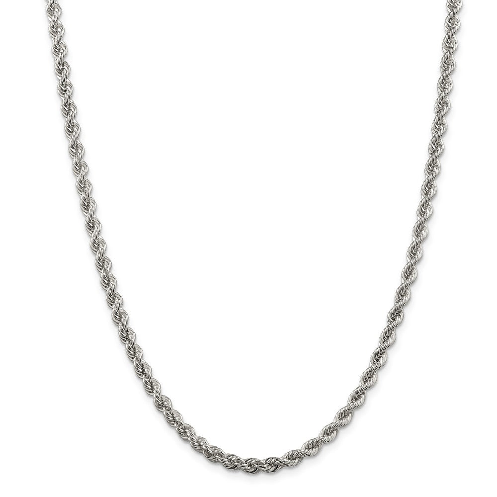 Alternate view of the 4.25mm Sterling Silver Solid Rope Chain Necklace by The Black Bow Jewelry Co.