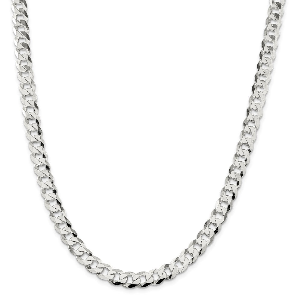 Alternate view of the Men's 8.5mm Sterling Silver Solid Flat Curb Chain Necklace by The Black Bow Jewelry Co.
