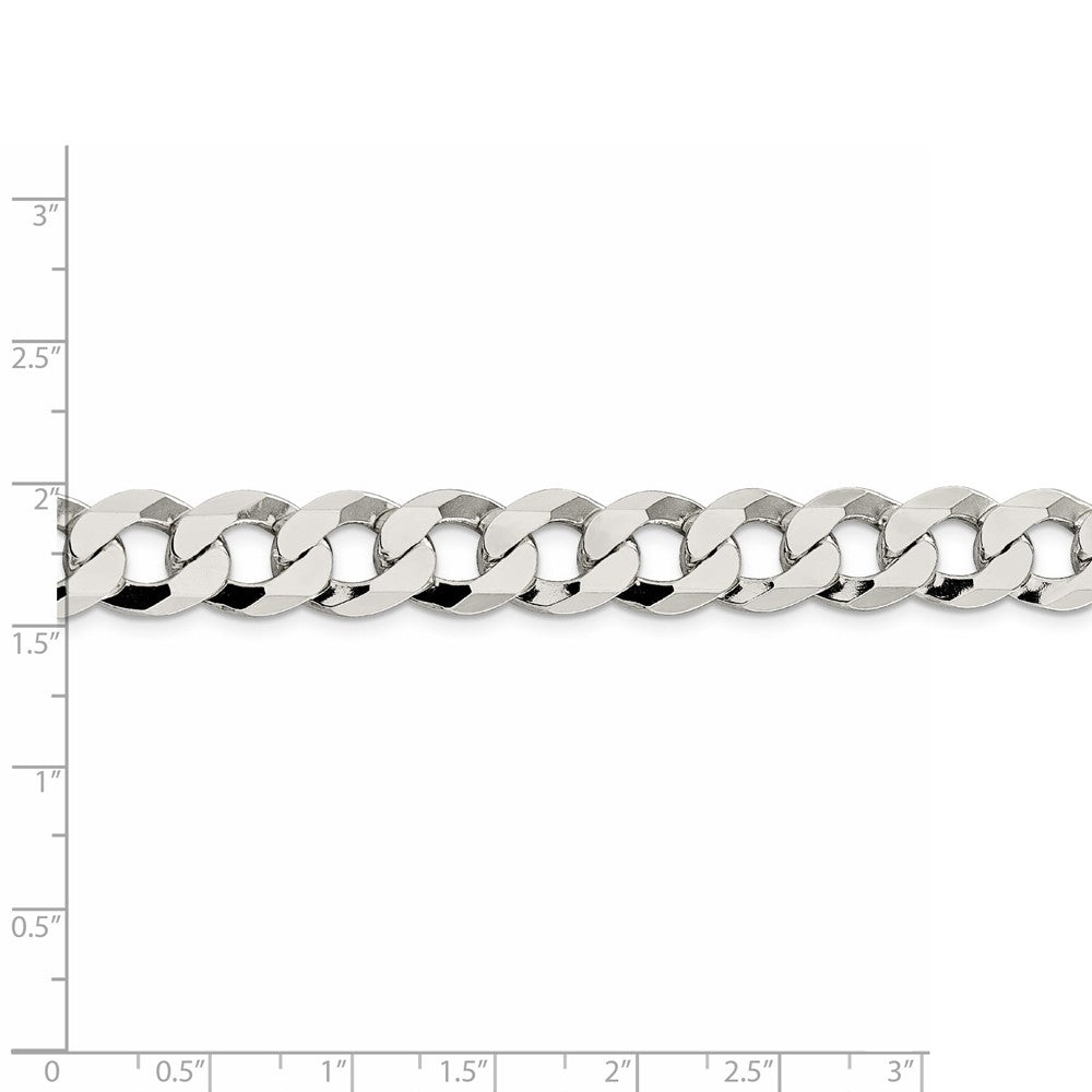 Alternate view of the Men's 11.75mm Sterling Silver Solid Flat Curb Chain Necklace by The Black Bow Jewelry Co.