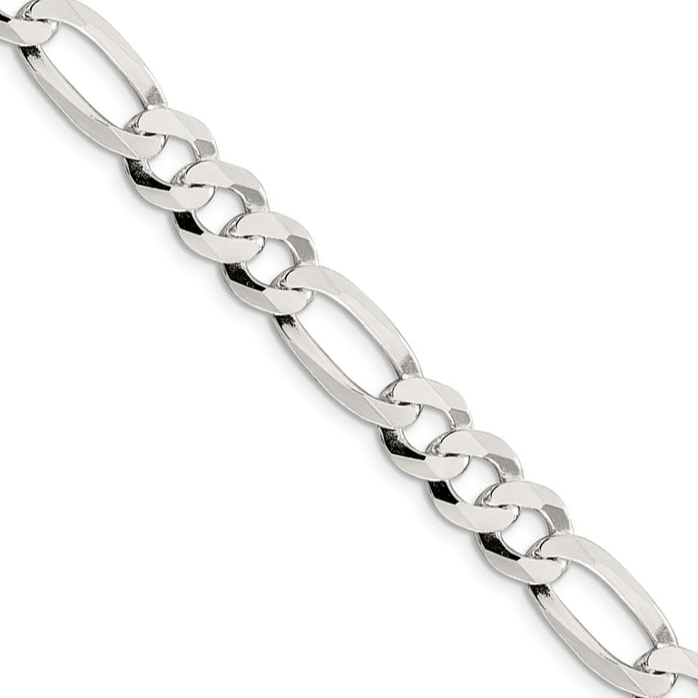 Men's 8.5mm Sterling Silver Flat Figaro Chain Necklace - The Black Bow Jewelry Co.