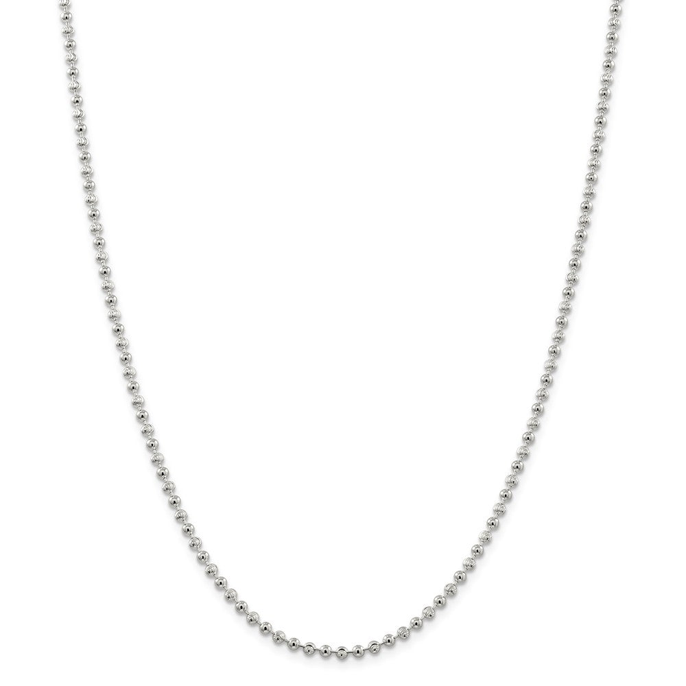 Alternate view of the 3mm Sterling Silver Fancy Bead Chain Necklace by The Black Bow Jewelry Co.