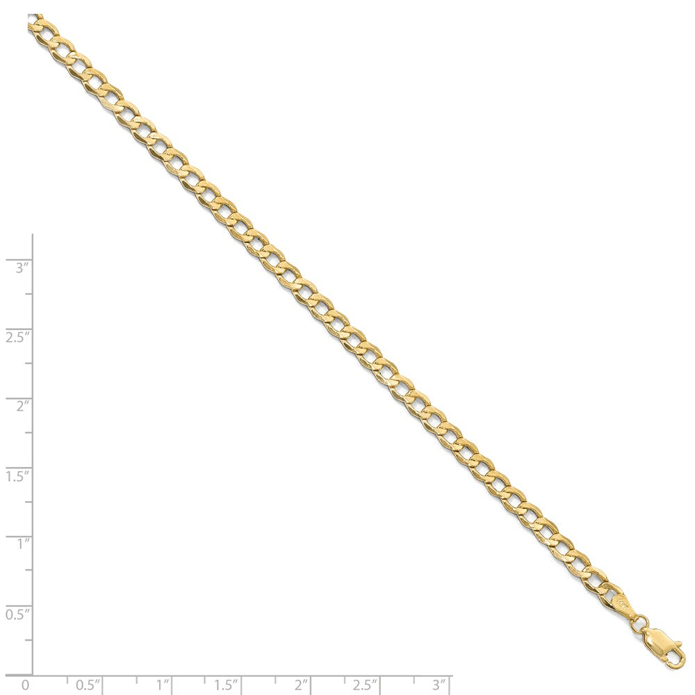 Alternate view of the 4.3mm 10k Yellow Gold Hollow Curb Link Chain Necklace by The Black Bow Jewelry Co.
