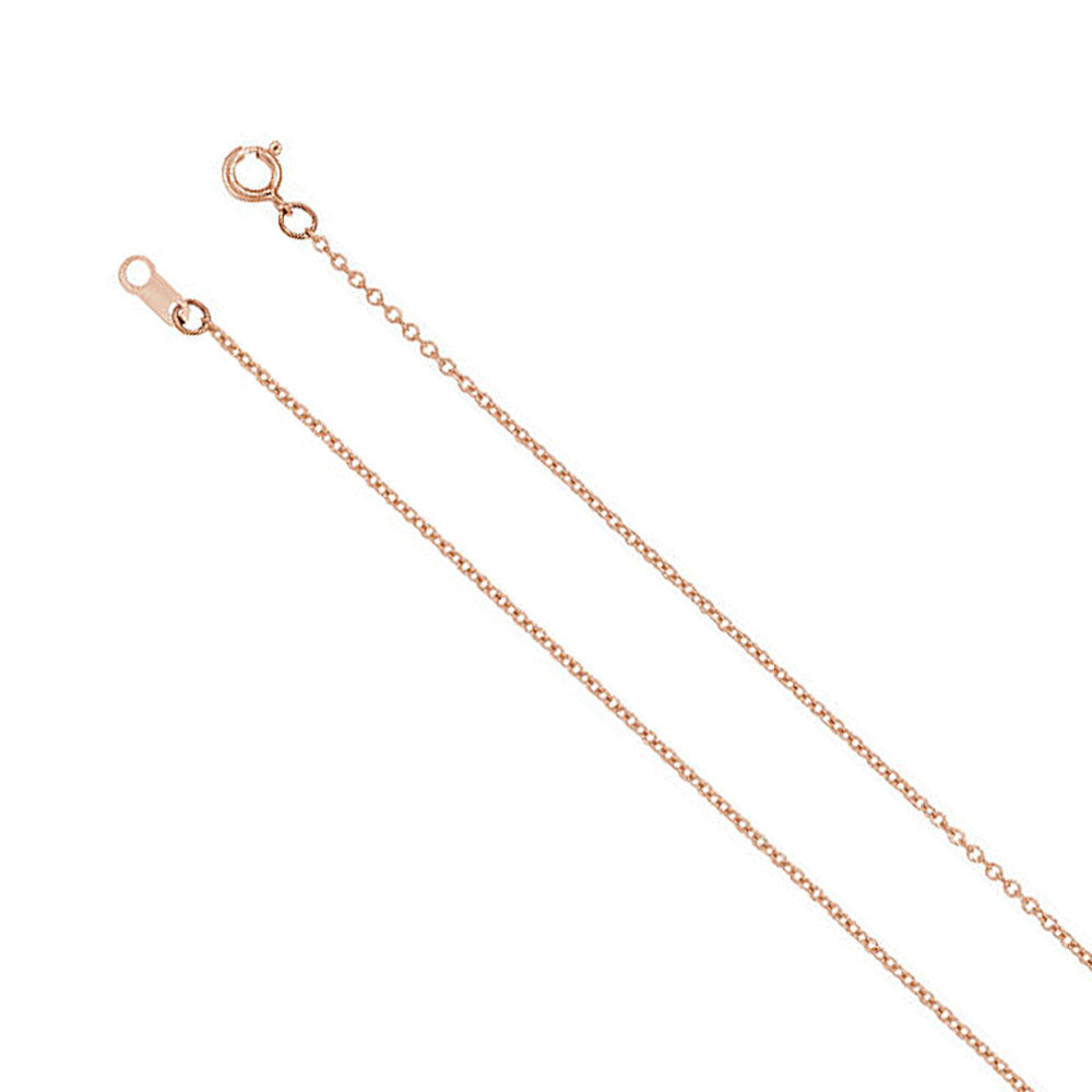Youth 1mm 14k White, Yellow or Rose Gold Cable Chain Necklace, 15 Inch - The Black Bow Jewelry Co.