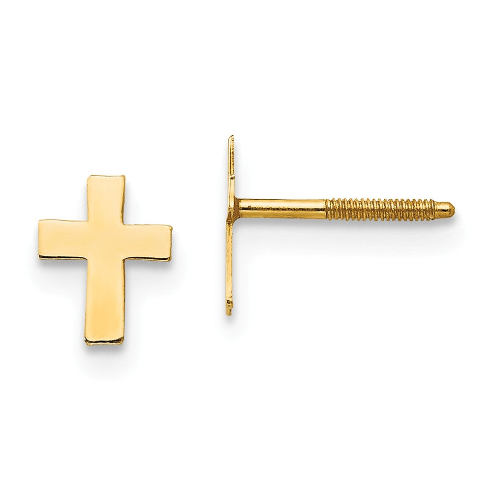 Children's 14k Yellow Gold Tiny 5mm Polished Cross Screw Back Earrings, Item E10108 by The Black Bow Jewelry Co.