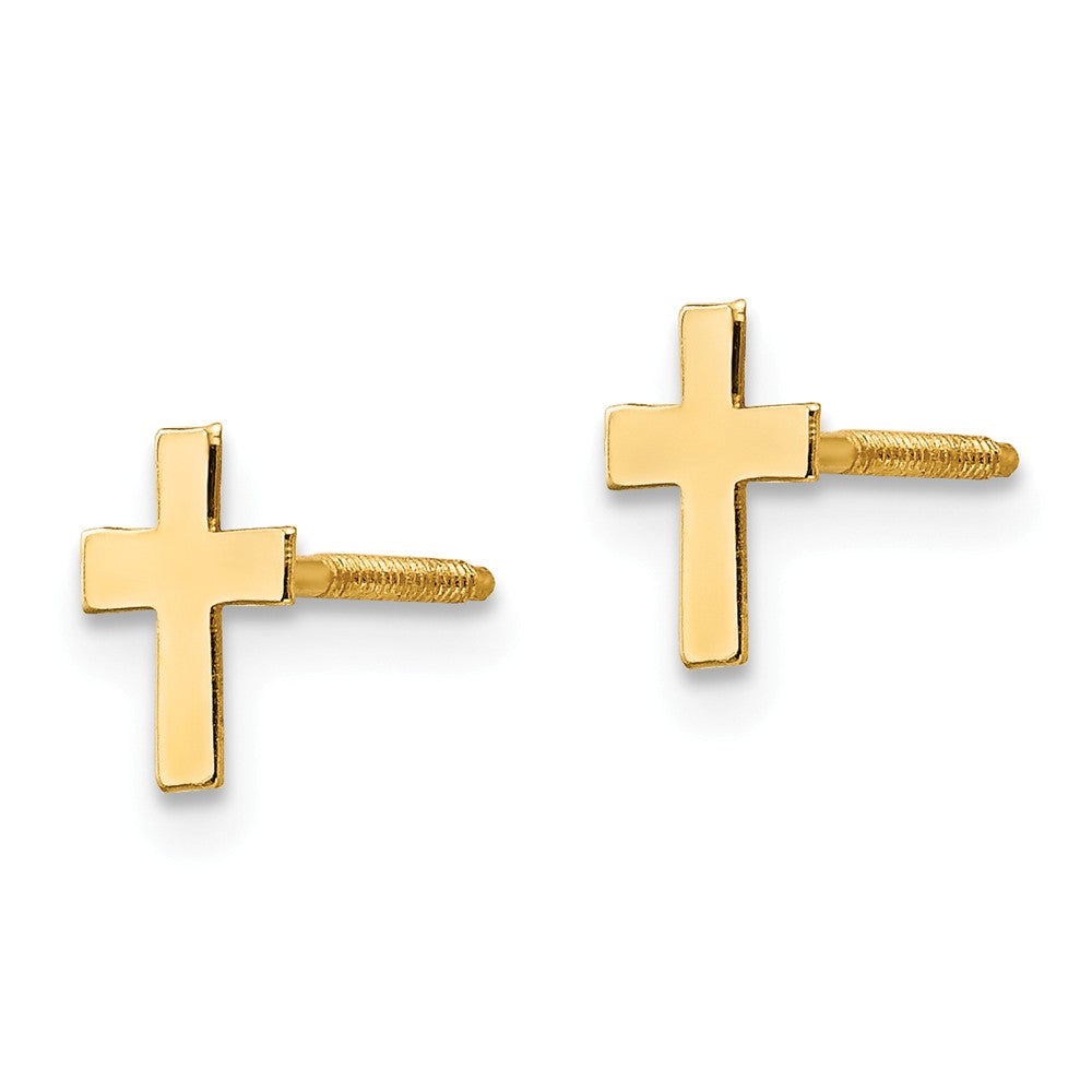 Alternate view of the Children's 14k Yellow Gold Tiny 5mm Polished Cross Screw Back Earrings by The Black Bow Jewelry Co.
