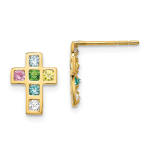 Children's 14k Yellow Gold & CZ 10mm Jeweled Cross Post Earrings - The Black Bow Jewelry Co.