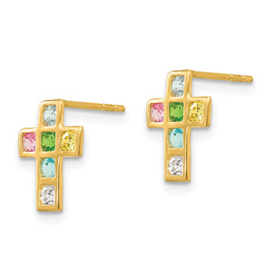 Alternate view of the Children's 14k Yellow Gold & CZ 10mm Jeweled Cross Post Earrings by The Black Bow Jewelry Co.