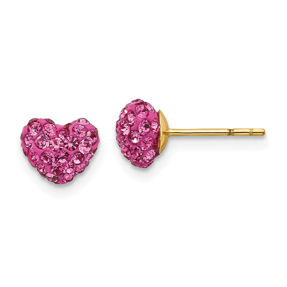 6mm Pink Crystal Heart Earrings with a 14k Yellow Gold Post, Item E10192 by The Black Bow Jewelry Co.