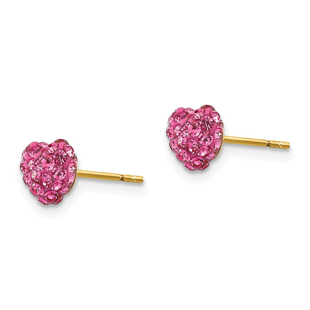 Alternate view of the 6mm Pink Crystal Heart Earrings with a 14k Yellow Gold Post by The Black Bow Jewelry Co.