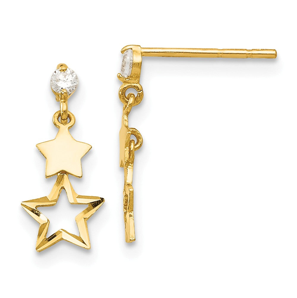 Kids Cubic Zirconia Double Star Post Dangle Earrings in 14k Gold, Item E10230 by The Black Bow Jewelry Co.