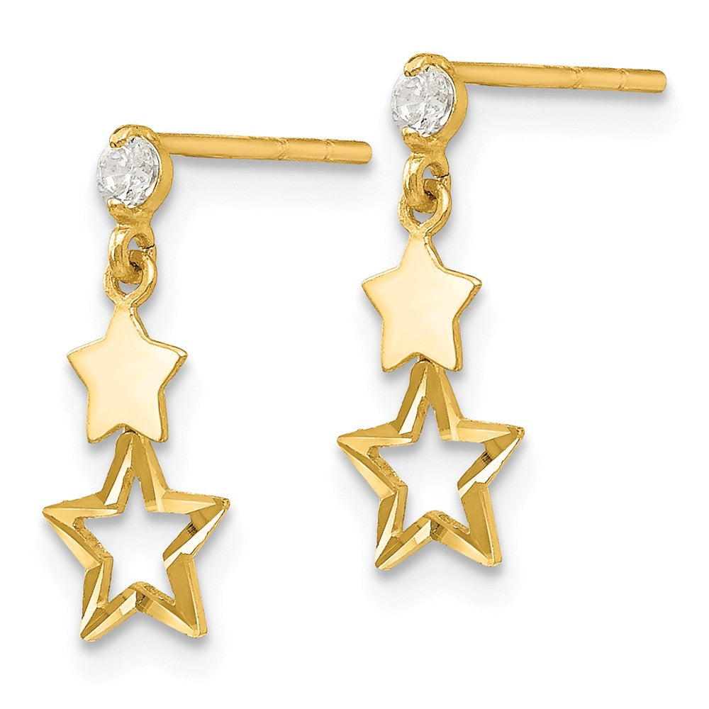 Alternate view of the Kids Cubic Zirconia Double Star Post Dangle Earrings in 14k Gold by The Black Bow Jewelry Co.