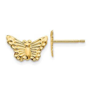 Kids 12mm Textured Butterfly Post Earrings in 14k Yellow Gold - The Black Bow Jewelry Co.