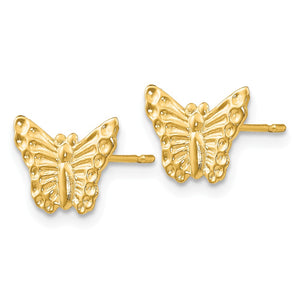 Alternate view of the Kids 12mm Textured Butterfly Post Earrings in 14k Yellow Gold by The Black Bow Jewelry Co.
