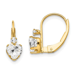 Kids Clear Cubic Zirconia Heart Lever Back Earrings in 14k Yellow Gold - The Black Bow Jewelry Co.