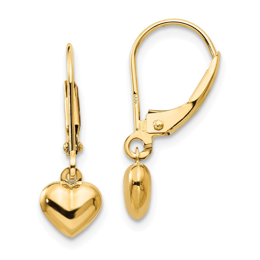 Kids 5mm Puffed Heart Lever Back Earrings in 14k Yellow Gold, Item E10307 by The Black Bow Jewelry Co.