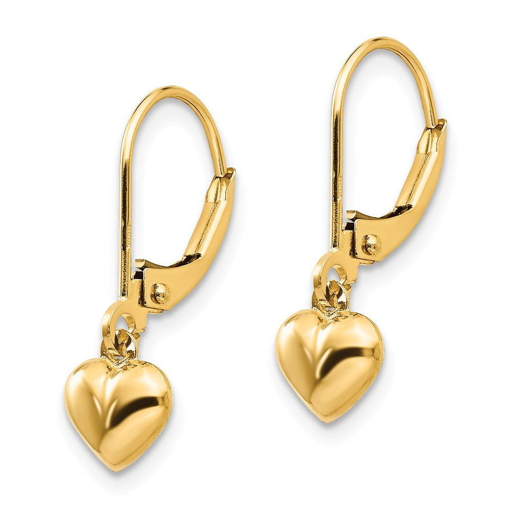 Alternate view of the Kids 5mm Puffed Heart Lever Back Earrings in 14k Yellow Gold by The Black Bow Jewelry Co.