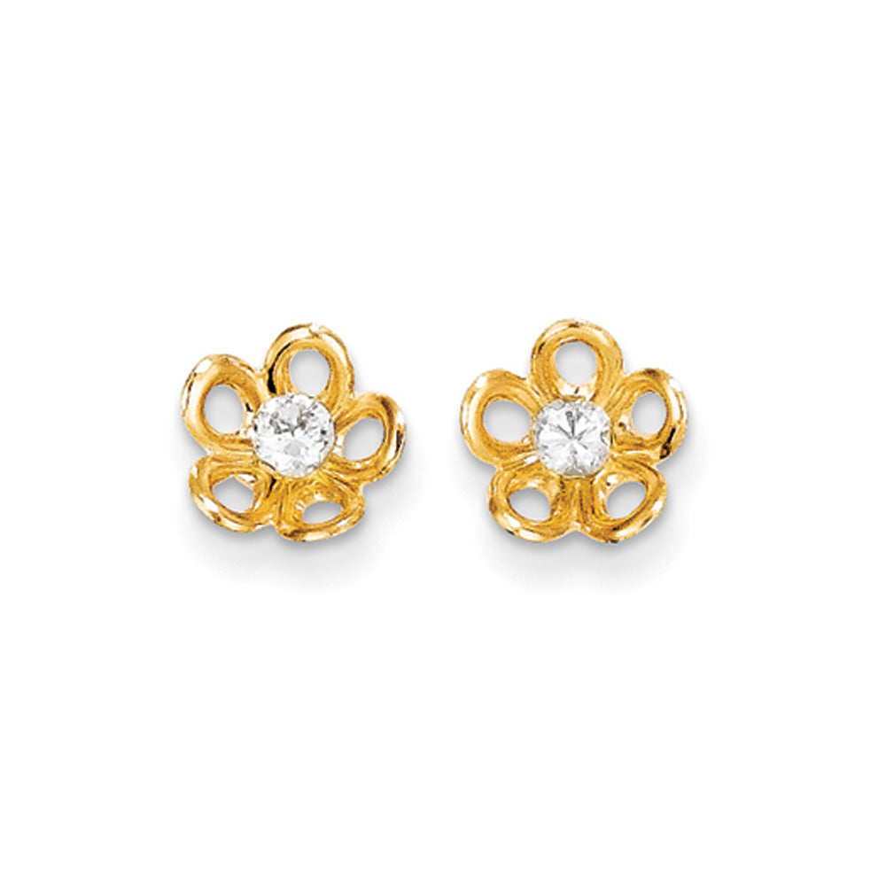 Kids 14k Yellow Gold & CA 8mm Concave Flower Post Earrings, Item E10353 by The Black Bow Jewelry Co.