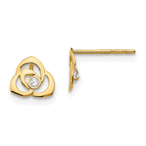 Kids 7mm 14k Yellow Gold Open Flower Cubic Zirconia Post Earring - The Black Bow Jewelry Co.