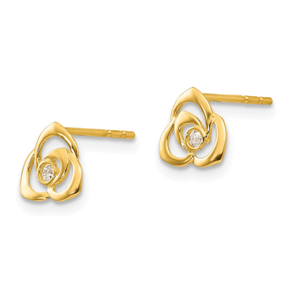Alternate view of the Kids 7mm 14k Yellow Gold Open Flower Cubic Zirconia Post Earring by The Black Bow Jewelry Co.