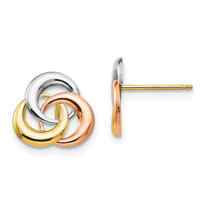 9mm 14k Tri-color Gold Love Knot Post Earrings - The Black Bow Jewelry Co.