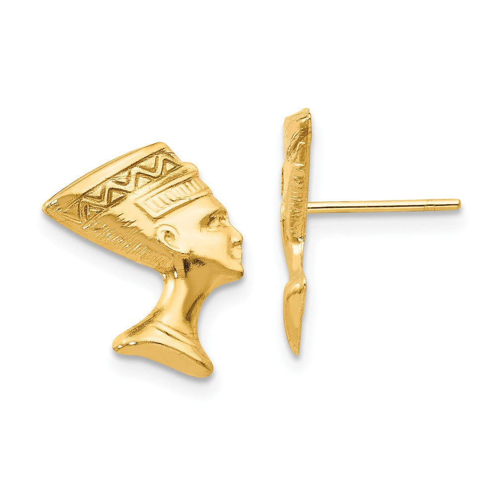 Polished Nefertiti Post Earrings in 14k Yellow Gold, Item E10429 by The Black Bow Jewelry Co.