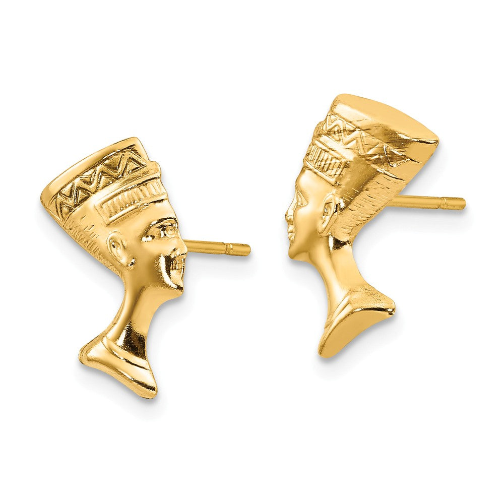 Alternate view of the Polished Nefertiti Post Earrings in 14k Yellow Gold by The Black Bow Jewelry Co.