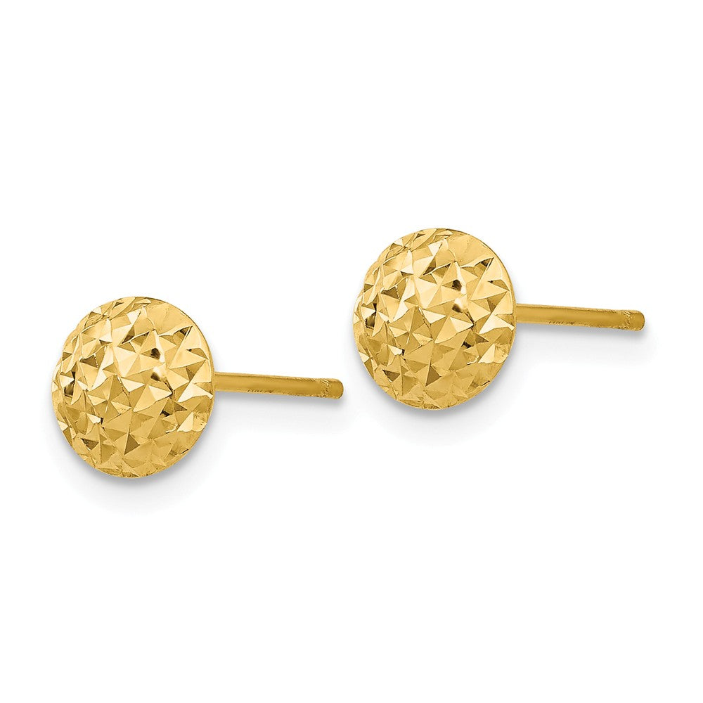 Alternate view of the 6mm Diamond Cut Puffed Circle Post Earrings in 14k Yellow Gold by The Black Bow Jewelry Co.