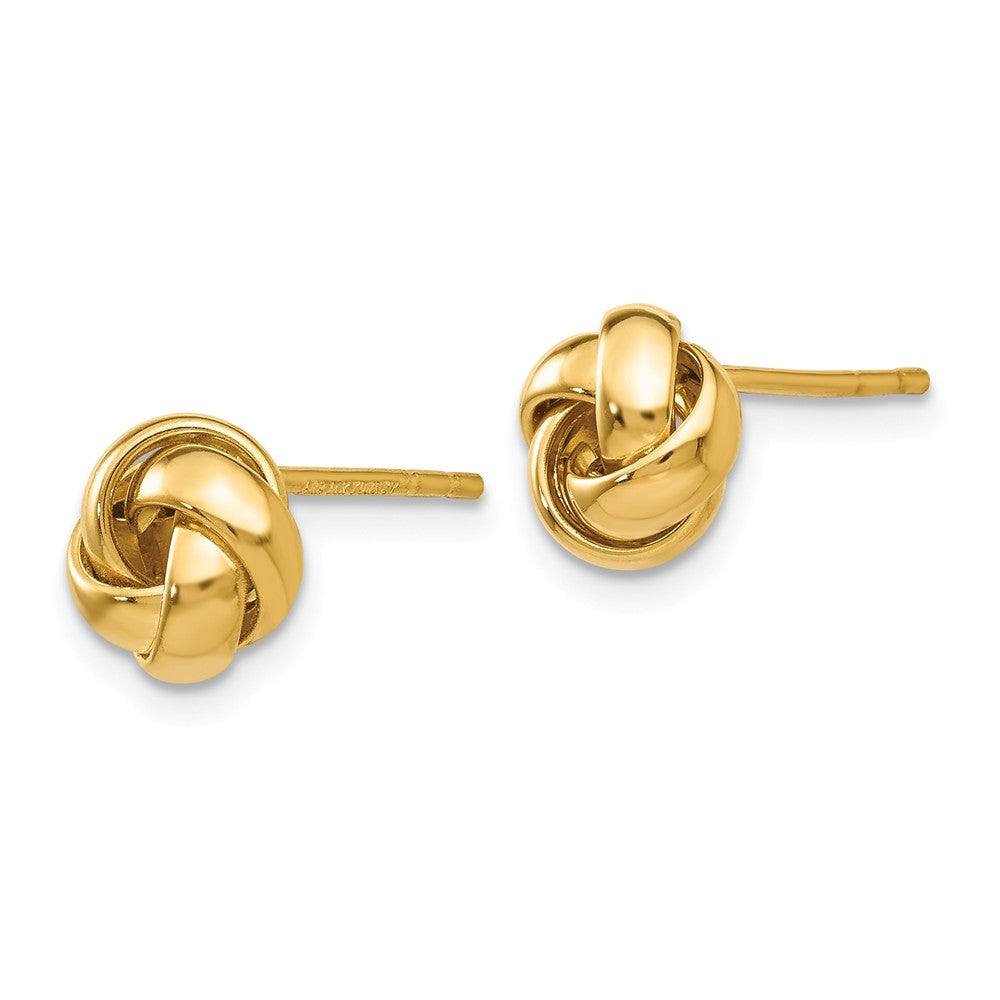 Alternate view of the 8mm Polished Love Knot Earrings in 14k Yellow Gold by The Black Bow Jewelry Co.