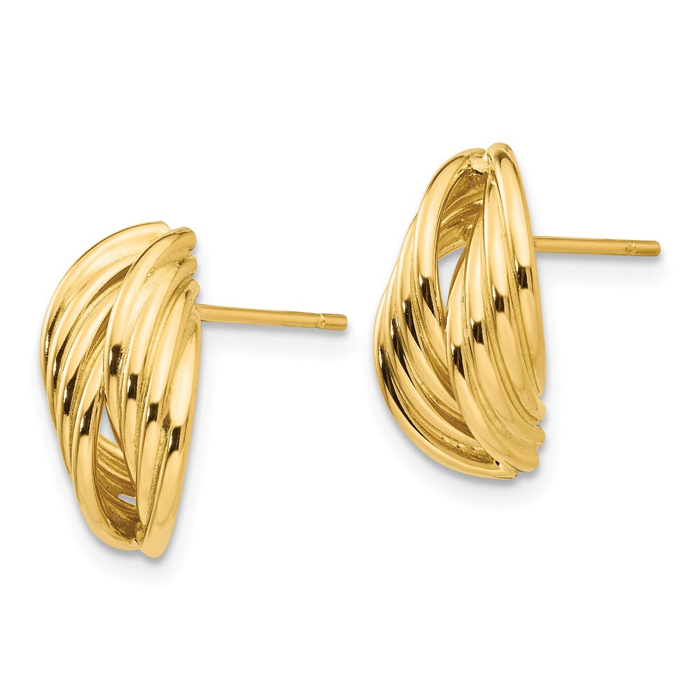 Alternate view of the Polished Ridged Post Earrings in 14k Yellow Gold by The Black Bow Jewelry Co.
