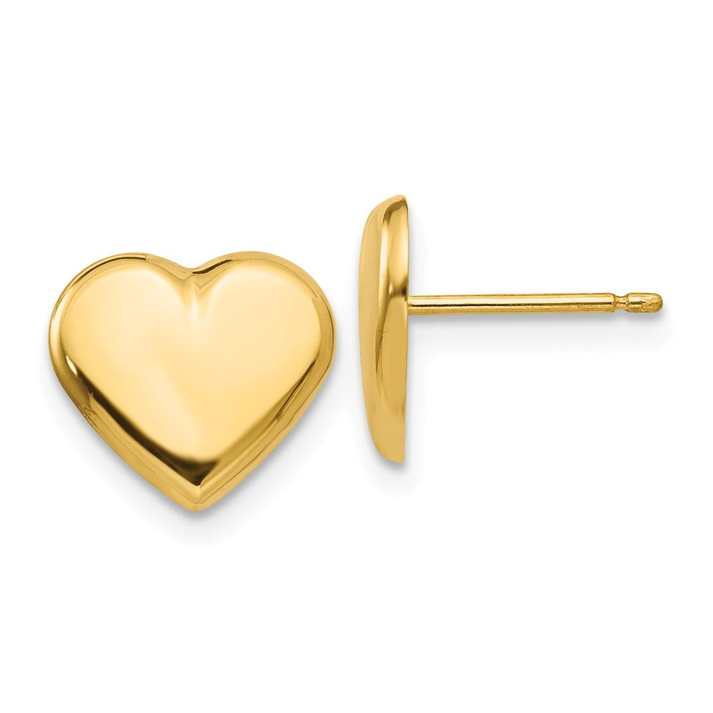 10mm Polished Heart Post Earrings in 14k Yellow Gold, Item E10551 by The Black Bow Jewelry Co.