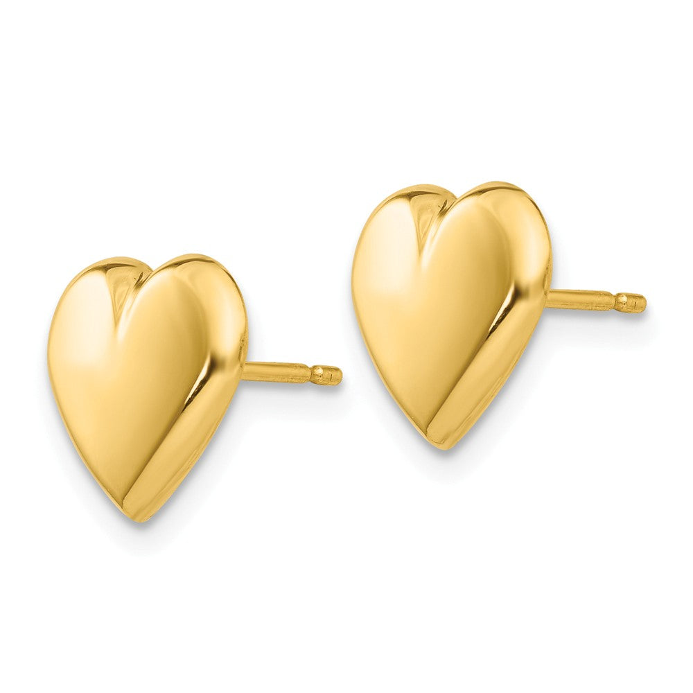 Alternate view of the 10mm Polished Heart Post Earrings in 14k Yellow Gold by The Black Bow Jewelry Co.