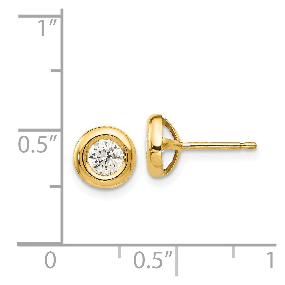 Alternate view of the 6mm Cubic Zirconia Post Earrings in 14k Yellow Gold by The Black Bow Jewelry Co.