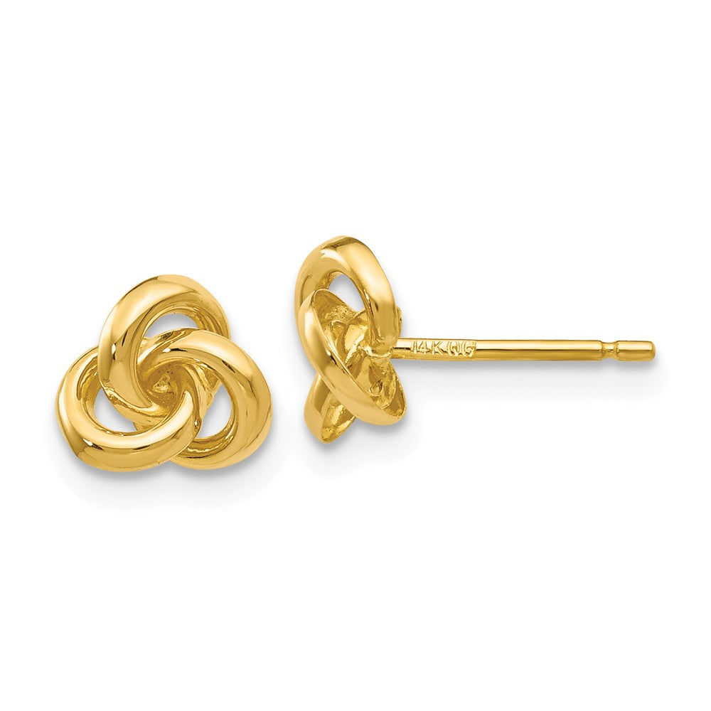 7mm Love Knot Post Earrings in 14k Yellow Gold, Item E10564 by The Black Bow Jewelry Co.