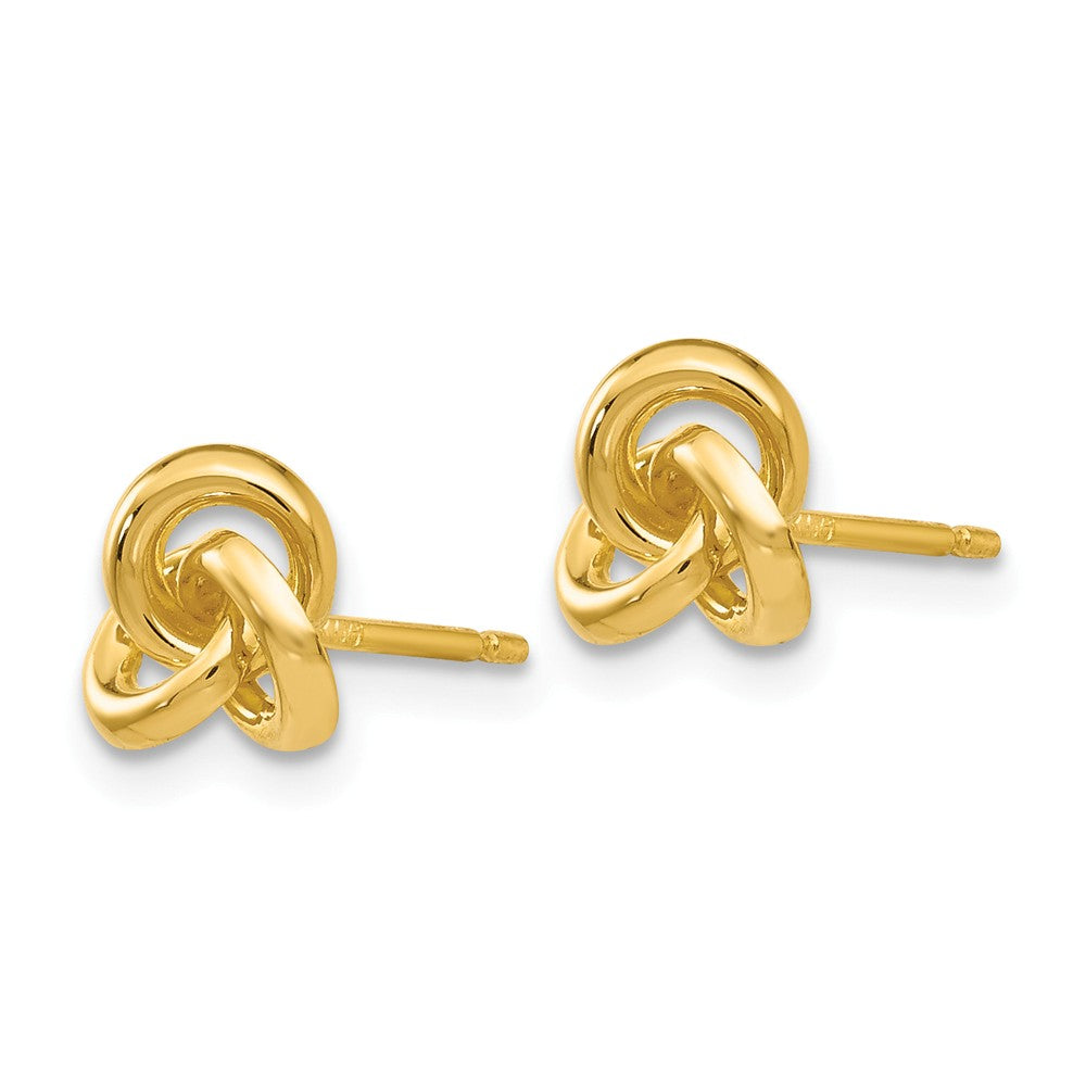 Alternate view of the 7mm Love Knot Post Earrings in 14k Yellow Gold by The Black Bow Jewelry Co.
