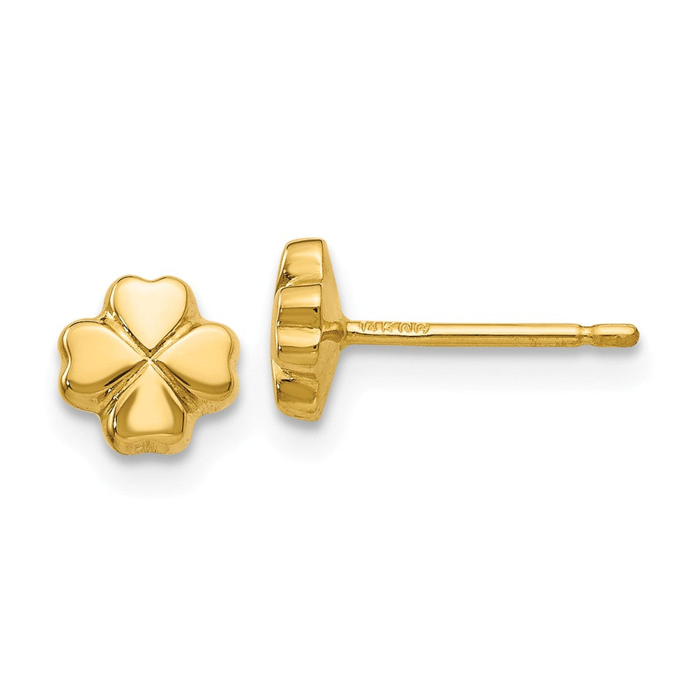 5mm Four Leaf Clover Post Earring in 14k Yellow Gold, Item E10569 by The Black Bow Jewelry Co.