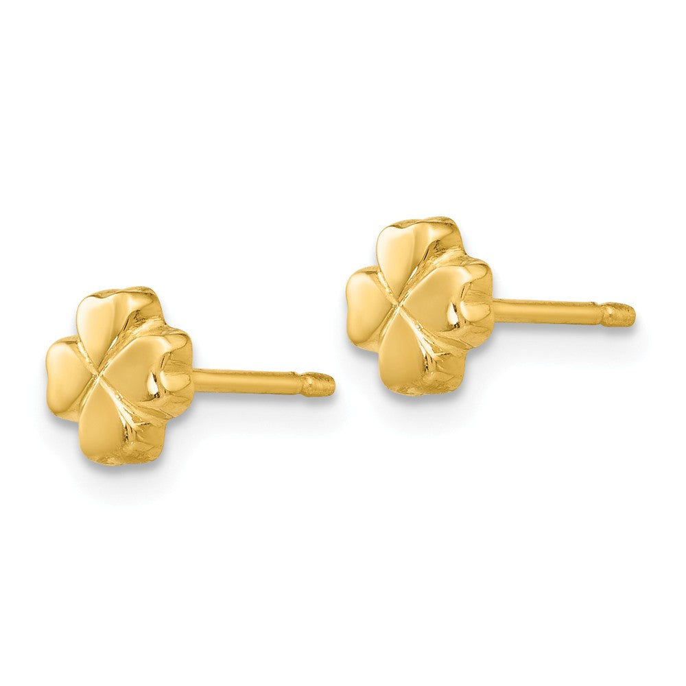 Alternate view of the 5mm Four Leaf Clover Post Earring in 14k Yellow Gold by The Black Bow Jewelry Co.