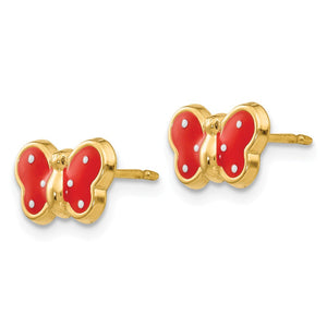 Alternate view of the Kids 10mm Red Butterfly Post Earrings in 14k Yellow Gold and Enamel by The Black Bow Jewelry Co.