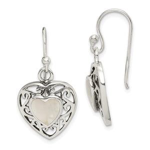 14mm Mother of Pearl Heart Dangle Earrings in Antiqued Sterling Silver - The Black Bow Jewelry Co.